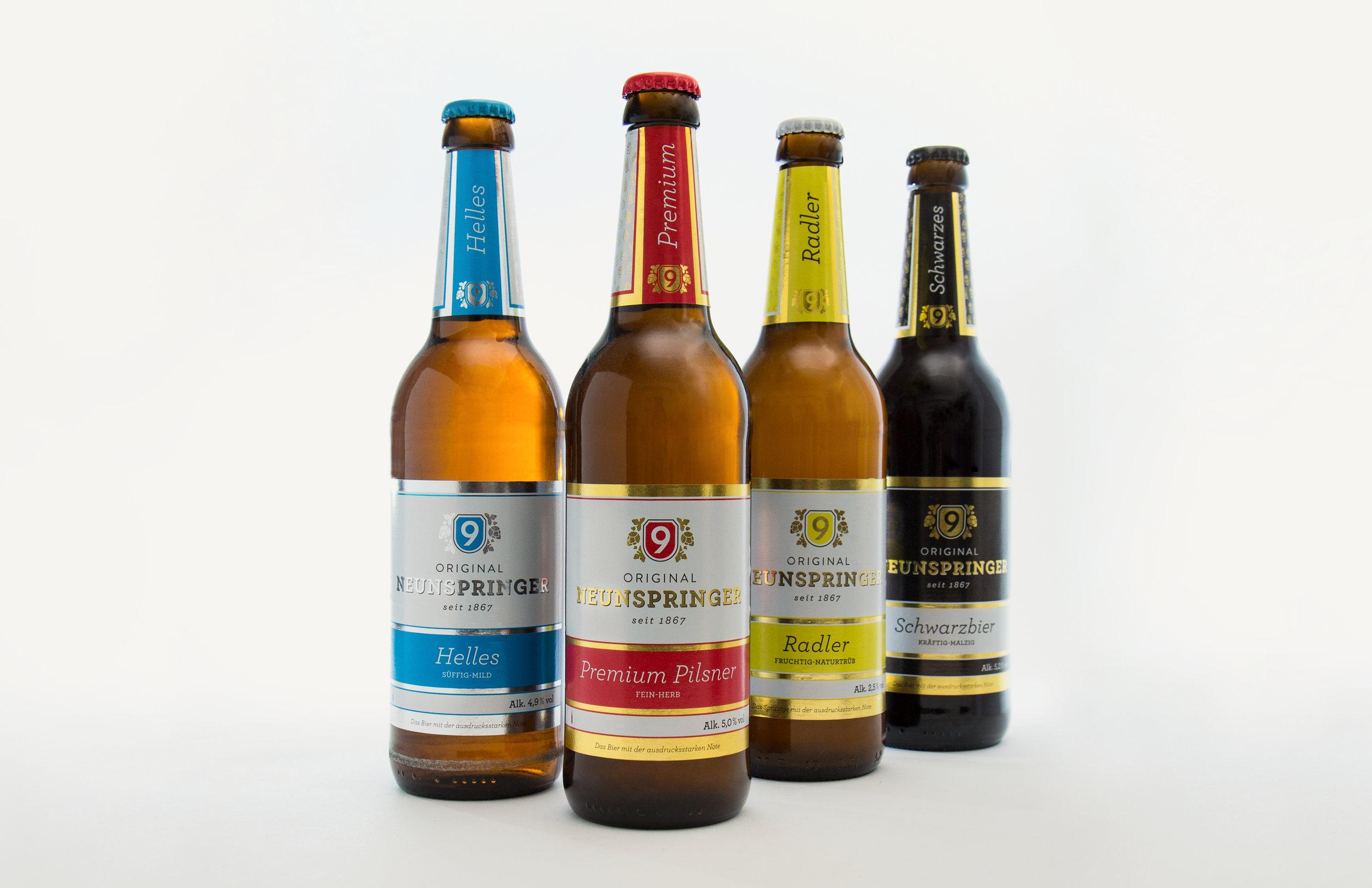 Die Produktpalette und Etiketten, die wir gestaltet haben für die Brauerei Neunspringe.