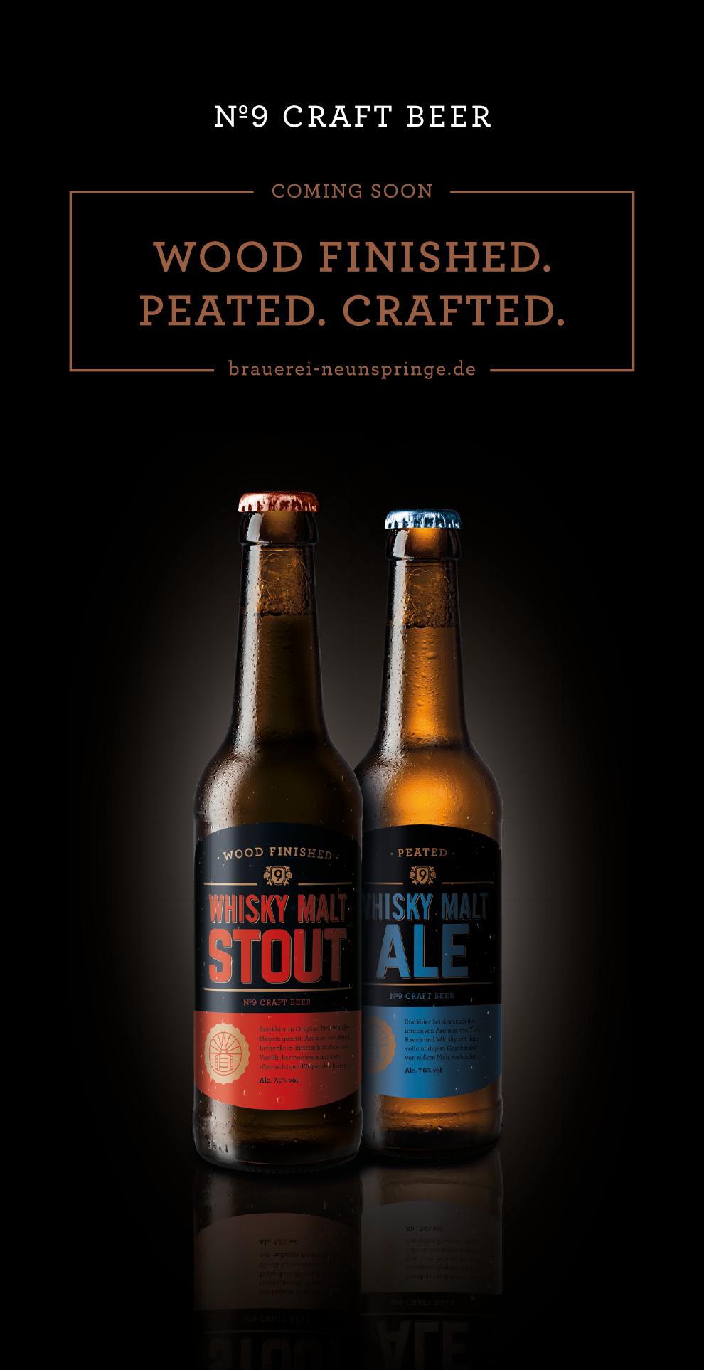 Rollup-Banner mit den beiden Whiskybiere der Brauerei Neunspringe.