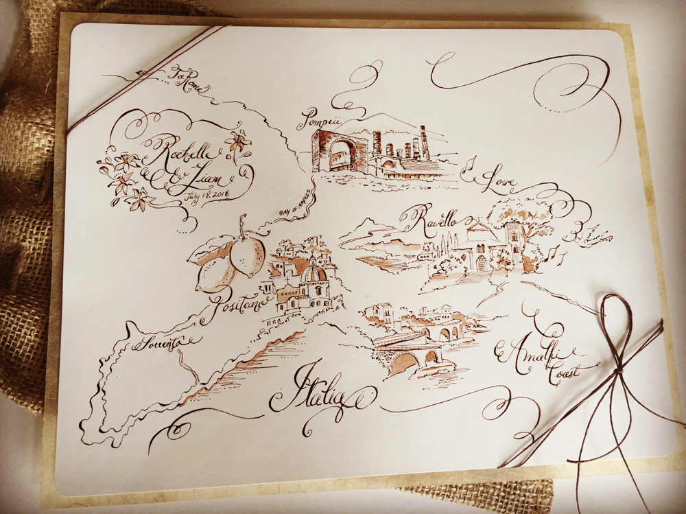 Hand Painted Wedding Maps | Paper Melange