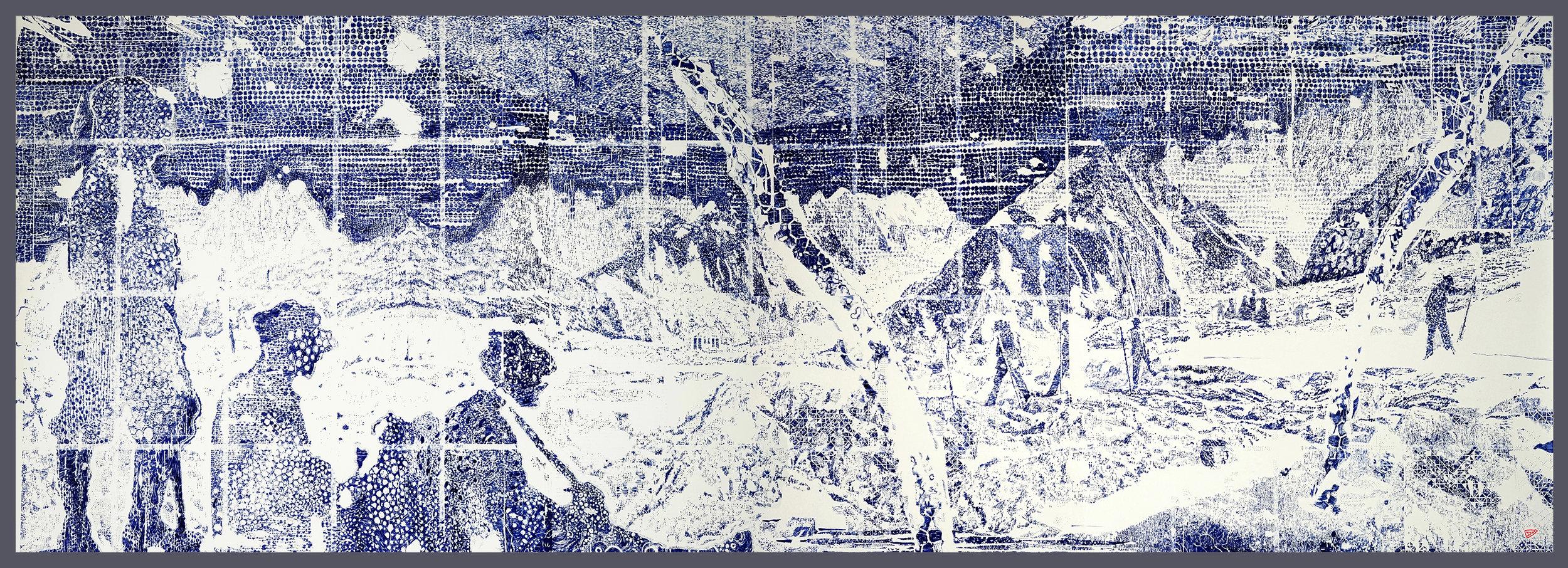 """""""the_pioneers"""" - Potlood & inkt op Waterford papier - 1,5 x 3 m"""