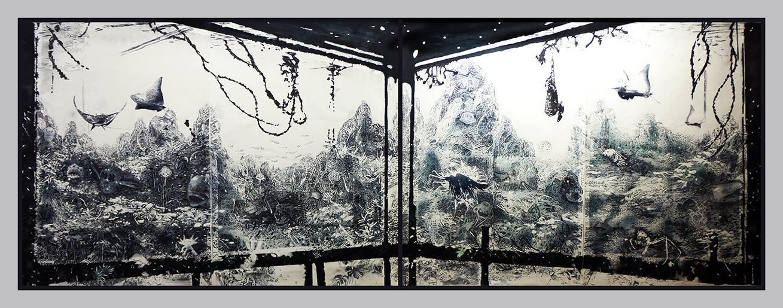 the_waterhouse - 2017 - Potlood, Bic, aquarel, acryl & houtskool op papier - 1,55 x 4,20 m