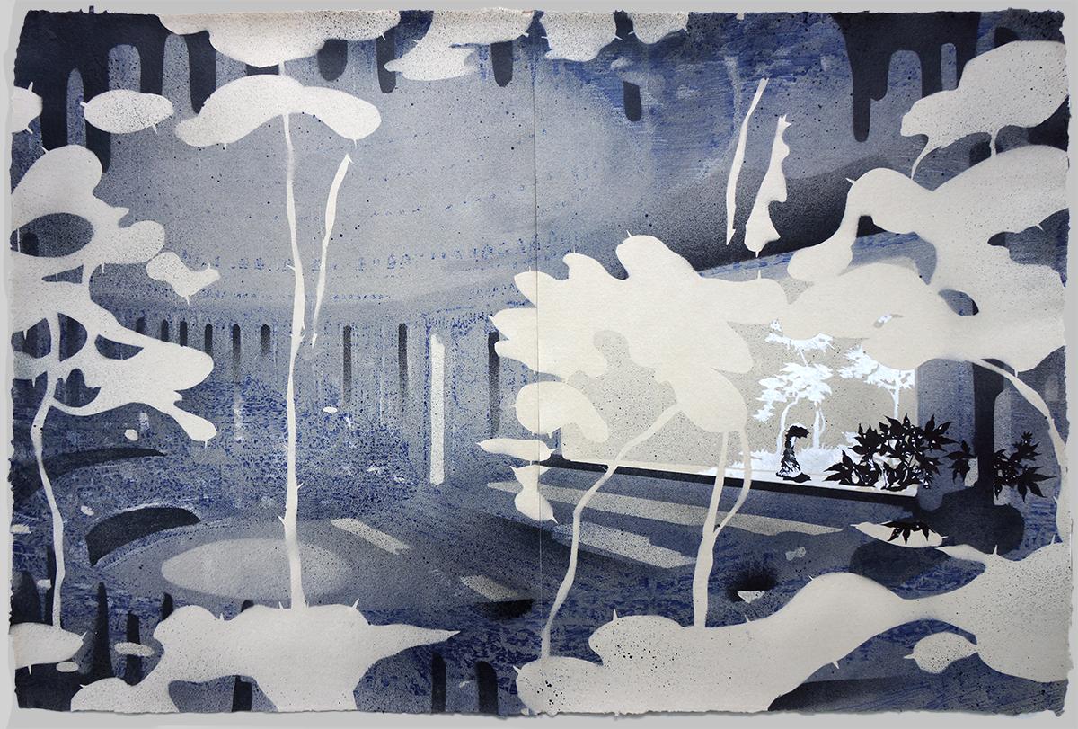 Opera_house#26 (After Hans Poelzig Grosses Schauspielhaus) Potlood, inkt, aquarel & acryl op papier - 68 x 99,5 cm