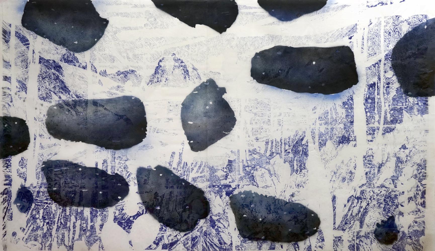 Untitled_waterscape#1 - 2018 - Potlood, inkt & acrylic op Japans papier - 116 x 188 cm