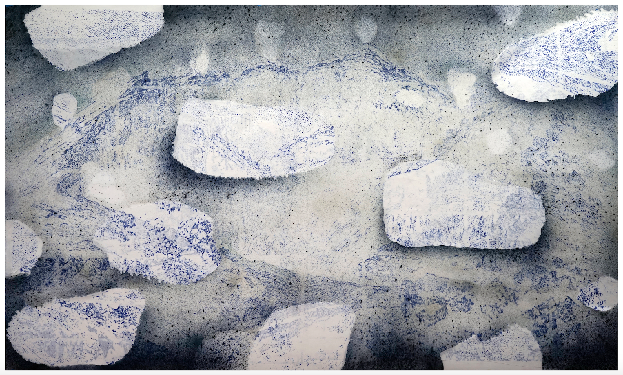 Crater_scape#2' - 2019 - pencil, ink, acrylic ,silver leaf, Japanese paper - 110 x 194 cm