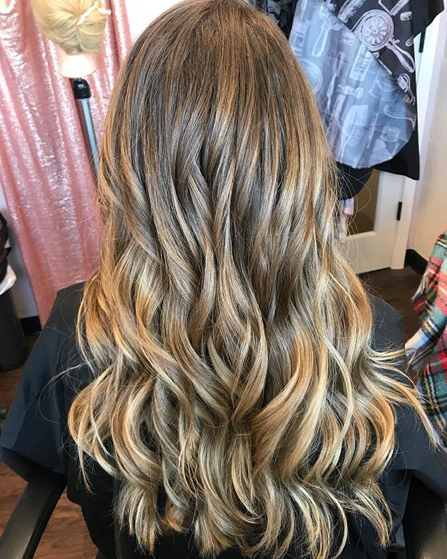 Actual mermaid hair. Can you believe that's all hers?  She's all ready for her bestie's wedding now! Balayage by me.