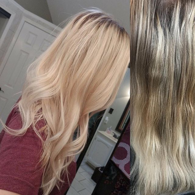 Don't you just love this BLONDE? We created a natural shadow root for easy maintenance. I had Ashley send me a picture from home since it was dark when I finished her appointment. Before pic is on the right. Ashley has sat through several sessions of heavy highlights with me to create this platinum color!  Message me to consult! #bookwithme #balayage #saturation #blonde #redkenshadeseq #texashair #texashairstylist #carrolltontx #hairandmakeup #hairandmakeupartist #oneonone #girlboss