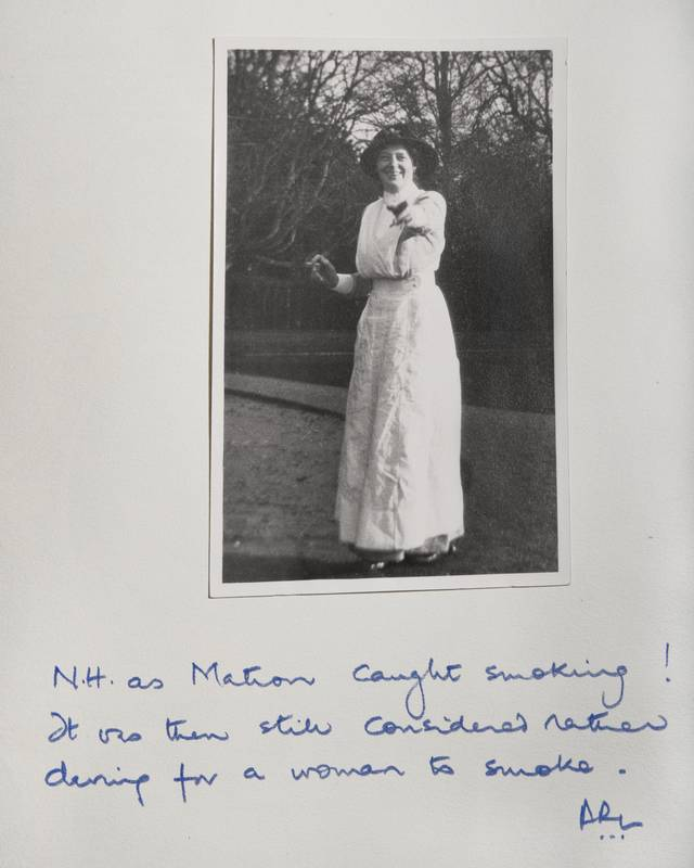 Nan Herbert caught smoking while on duty as matron. Source: Private collection
