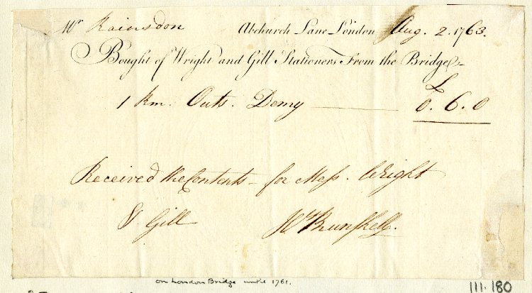 Wright & Gill letterhead 'from the Bridge'. Source: Bodleian Library