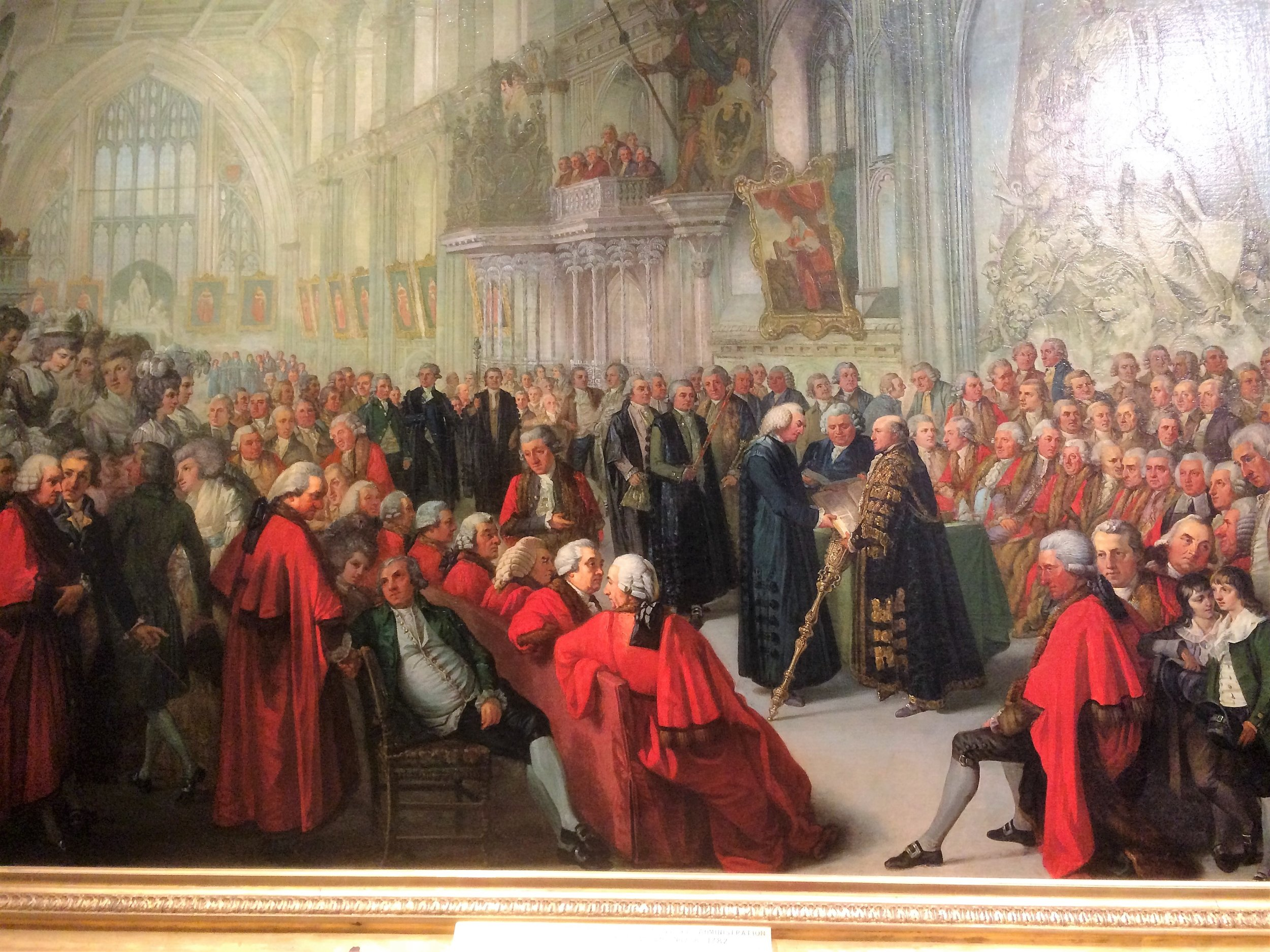 Guildhall, 1782. Thomas Wright is front-centre, with his back to us, looking over his shoulder. Source: Collage