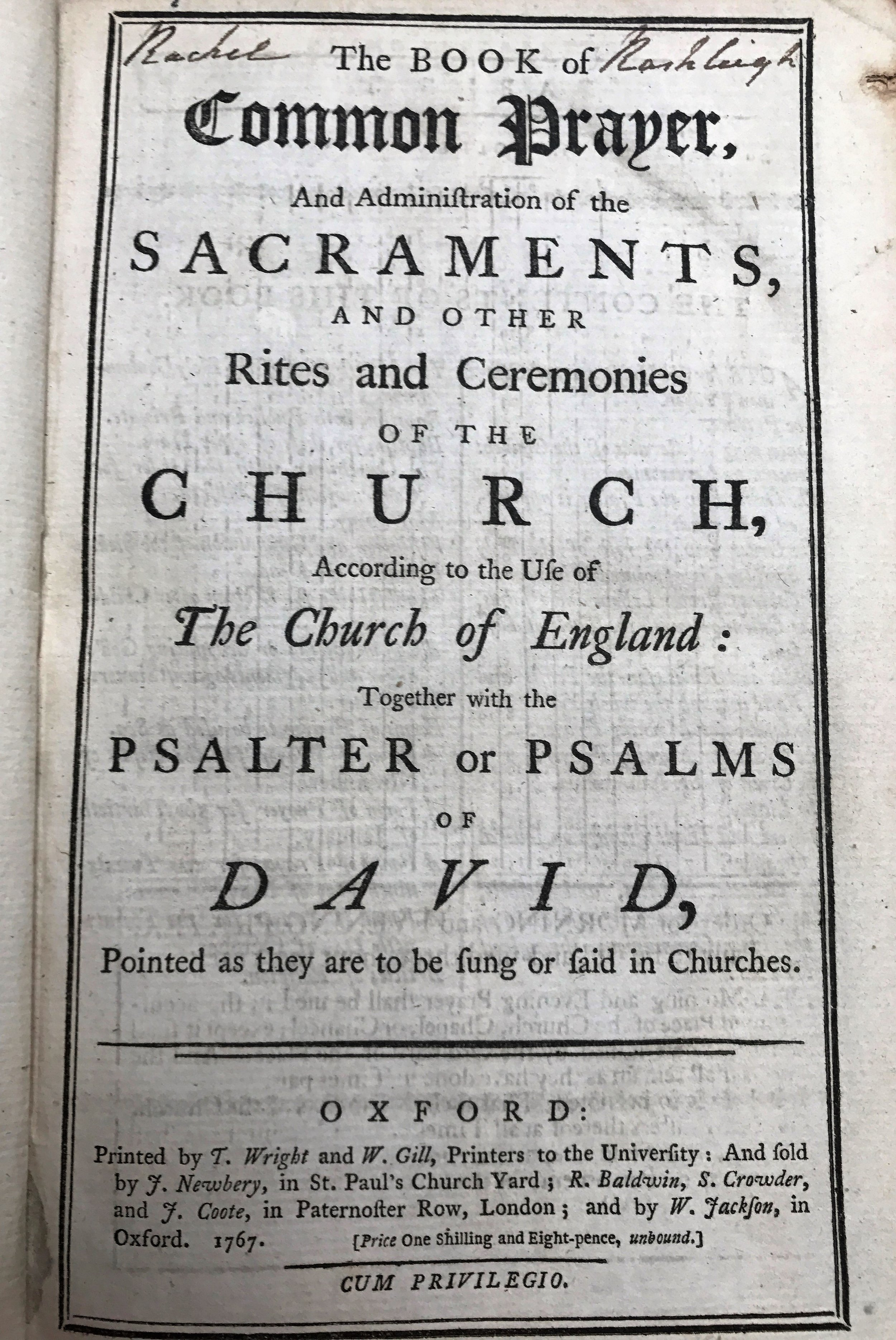Wright & Gill book of common prayer printed in the year he built Bell House. Source: Bodleian Library