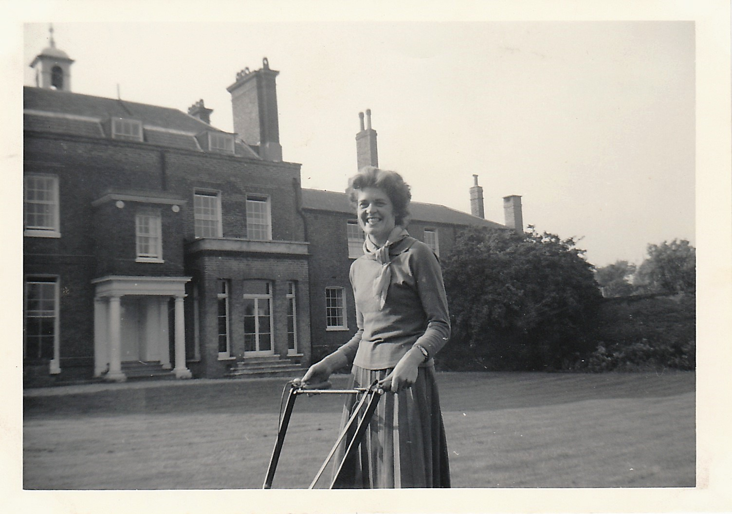 Patricia Knight mowing the lawn. Source: Cheryl Spray