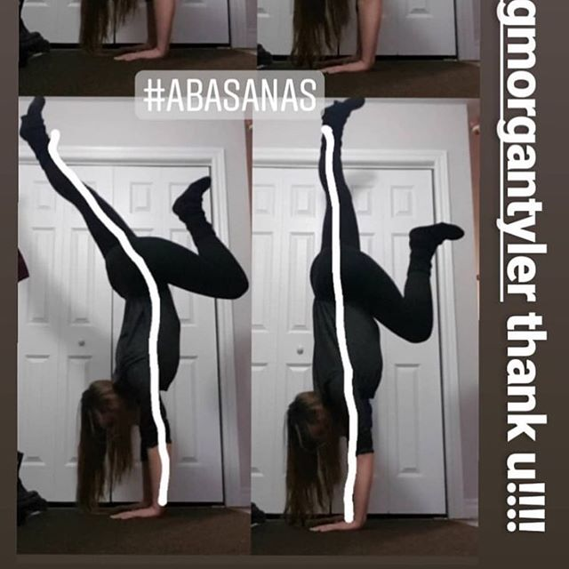 I LOVE this photo that @skami__ posted on her story showing the massive difference of pulling your knee into your chest in a handstand versus your heel into your bum.  You can literally watch as she finds her line of power simply by moving the position of her leg.  If you are looking to start your journey, all you have to to do is click the link in my bio. No experience or equipment is necessary. 🥰👆🏼 #AbAsanas