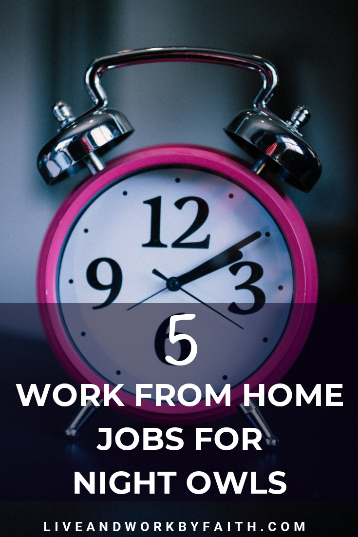 Need a work from home job with overnight hours? Here are 5 companies that hire moonlighters, side hustlers and folks who love working from home at night. #workfromhome #sidehustle