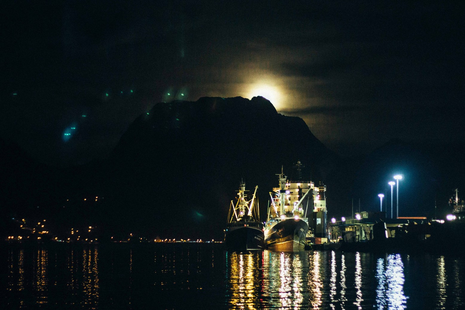 Beautiful Pago Pago Harbor Lights from First Friday @ the Marketplace! PC: Nerelle Que