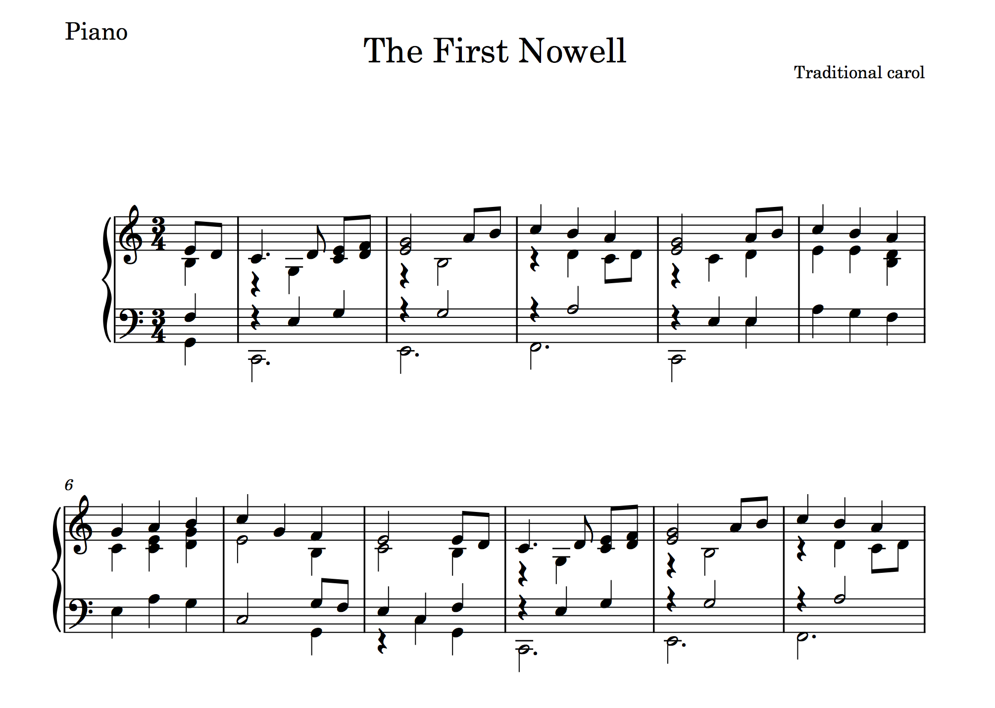 'The First Nowell' (in Dorico)