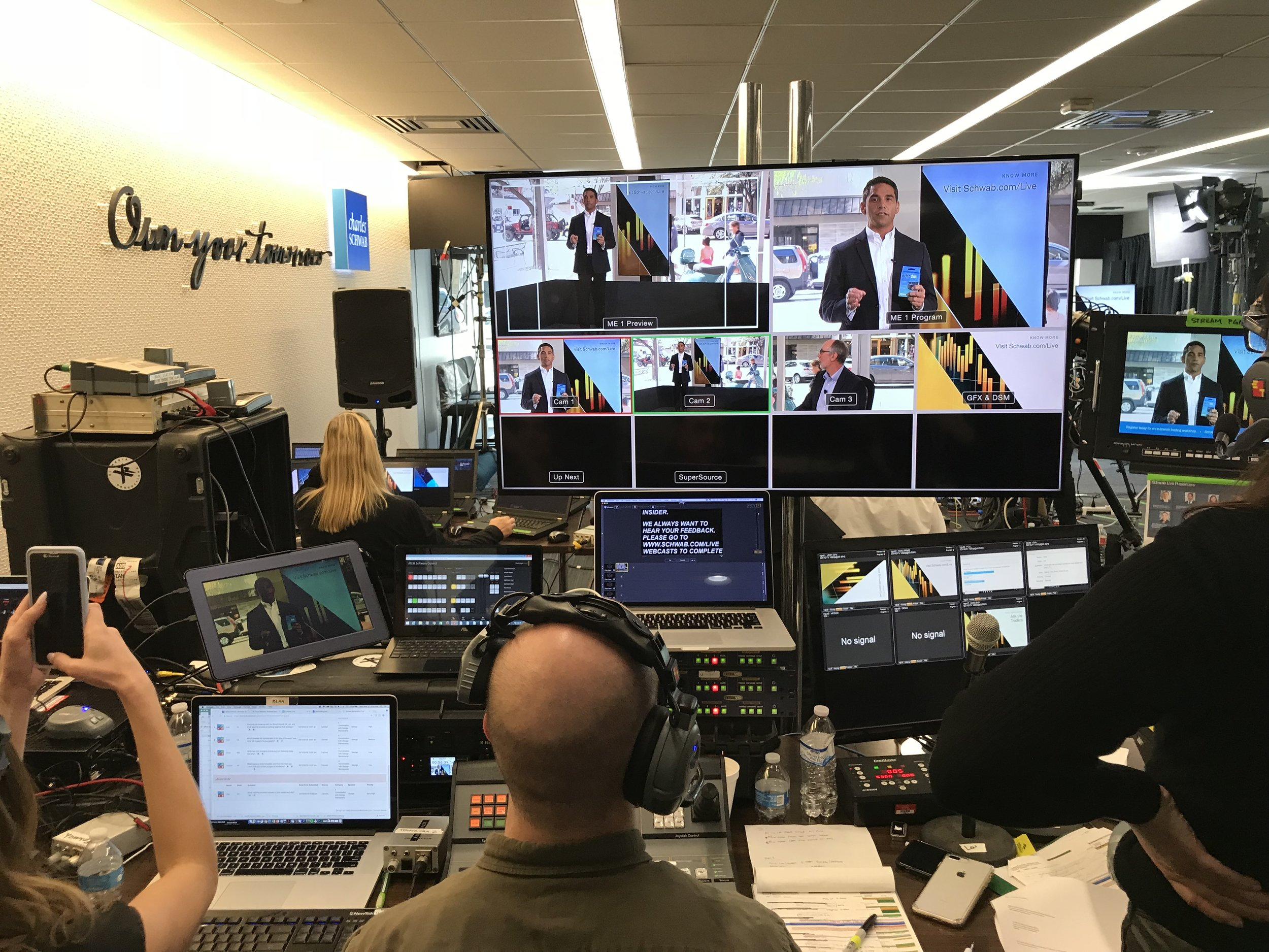 Charles Schwab video village built from scratch in their downtown Austin offices.