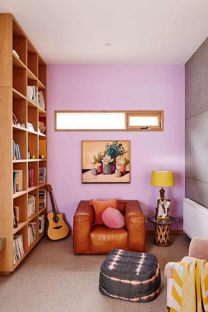 Create an unexpected color combination with a somewhat neutral color. This combination of Lavender and tan (with a pop of yellow) is not typically used but it doesn't feel like too loud of a statement because of the muted tan.