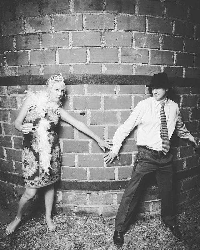 Outdoors? Brick Wall? Black and White? Yep, we do it all! #brickbackdrop #brickhouse #wedding #photobooth