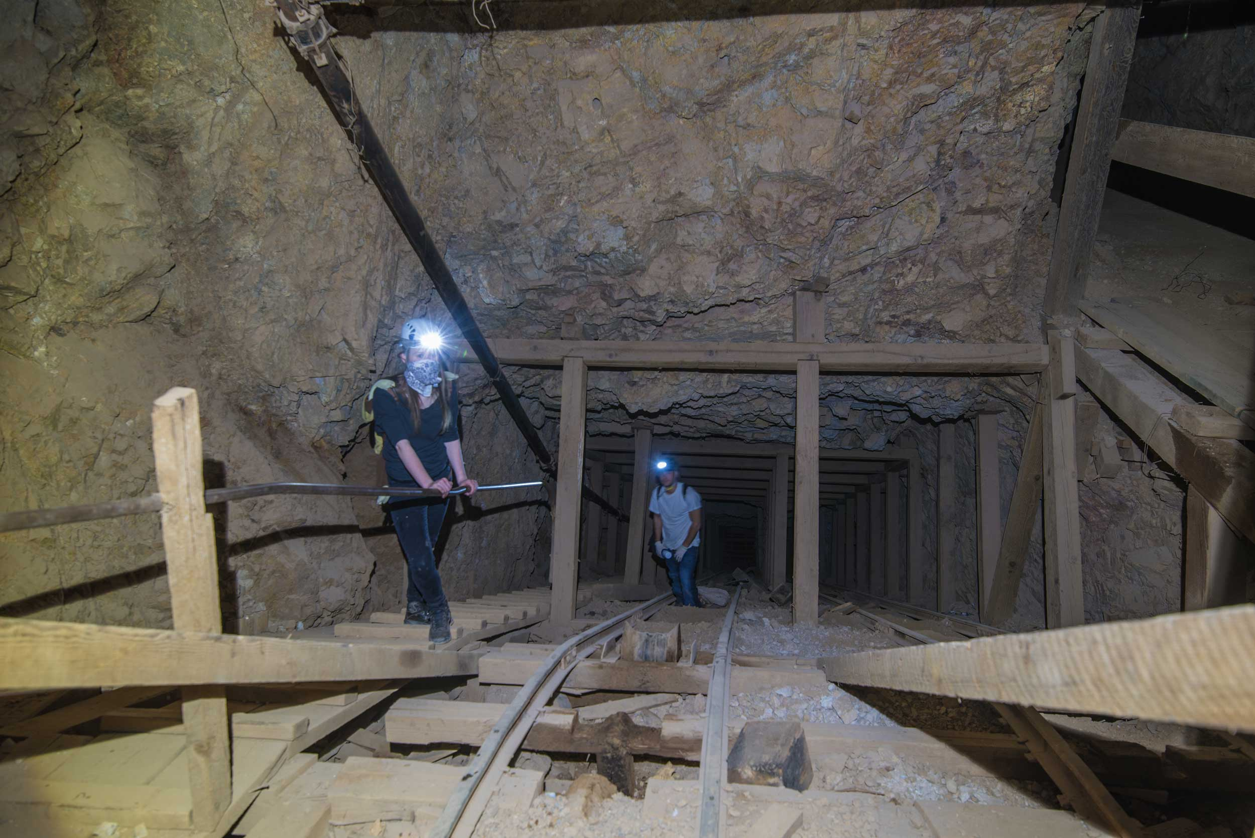 The mine shaft descends to over 300 feet below the surface