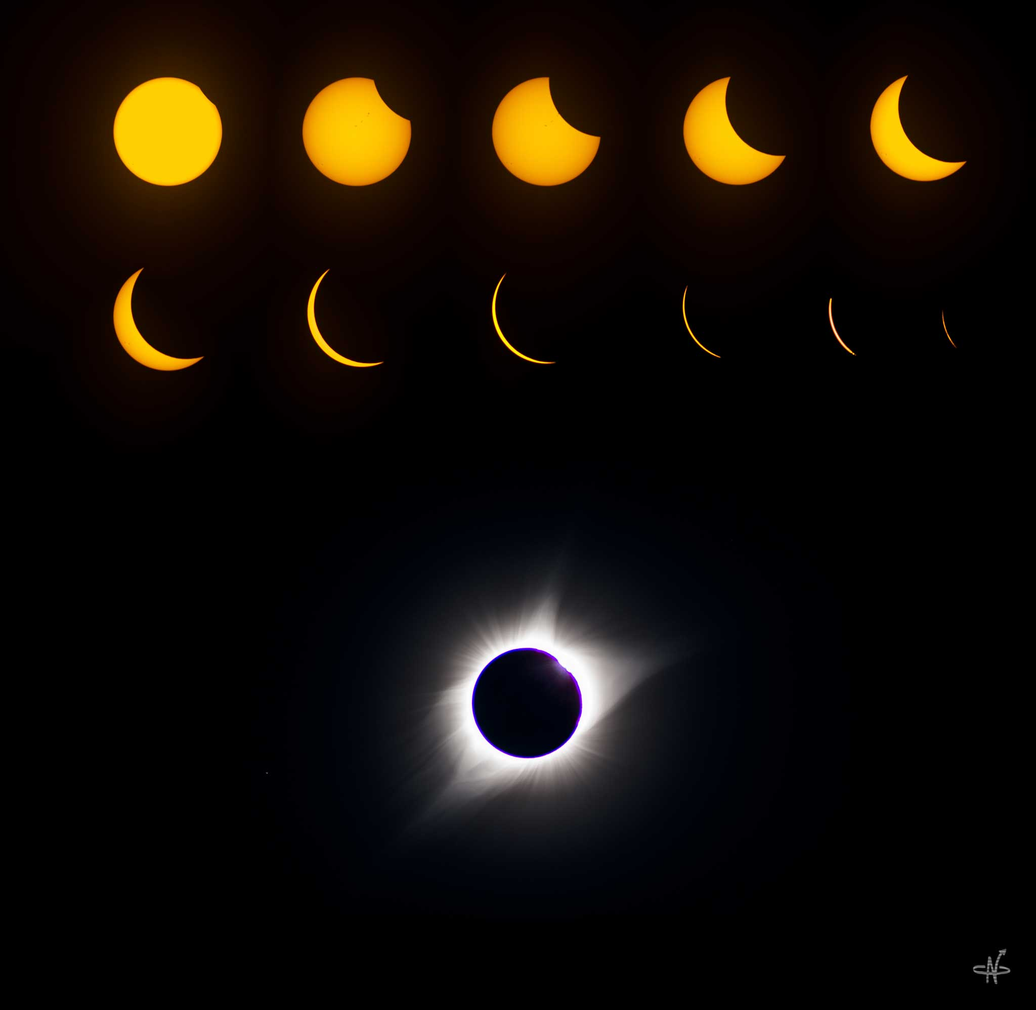 The progression of the eclipse as seen through Chad's scope.