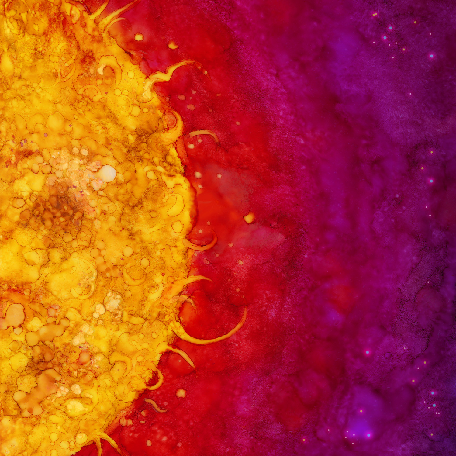 Sun  Alcohol Ink, Photoshop
