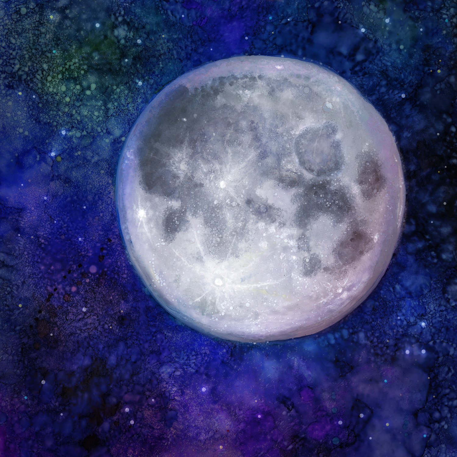 Full Moon  Alcohol Ink, Photoshop