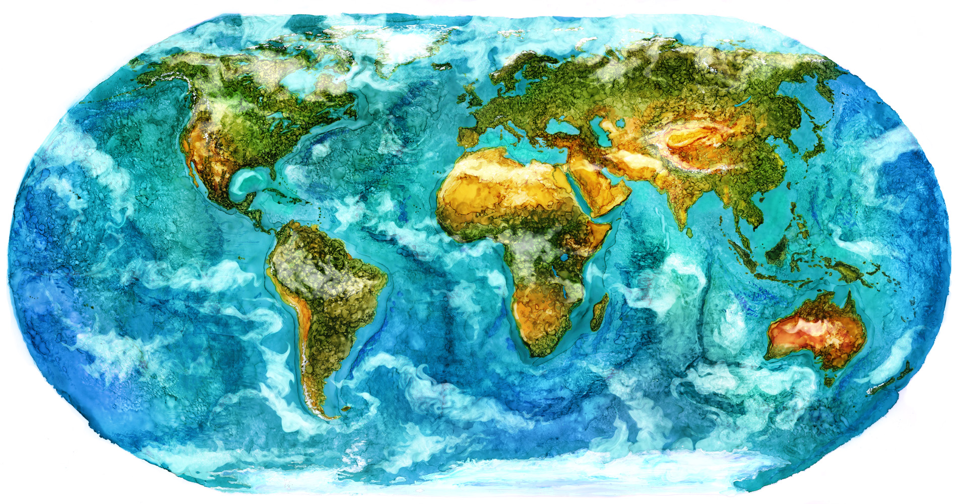 World Map  Alcohol Ink, Photoshop