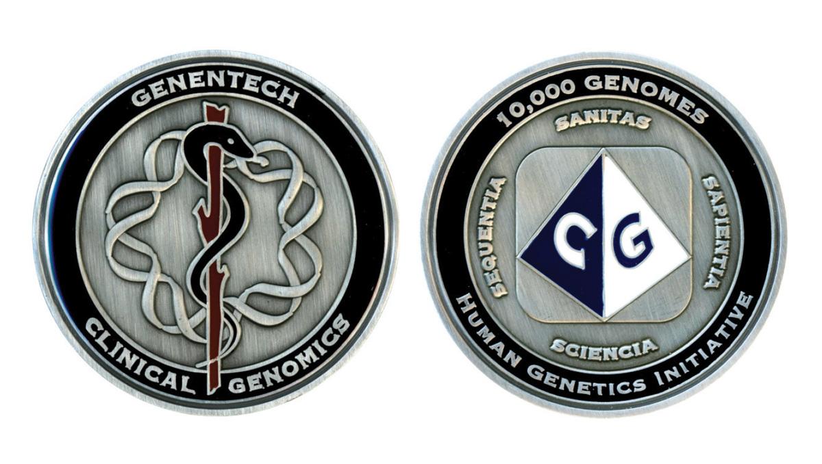 Commemorative coin celebrating a corporate milestone