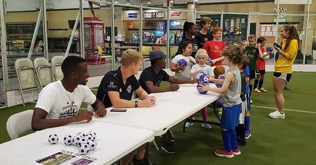 Our Pro Soccer Camp wraps up today, but we had some special guests yesterday!  Big thanks to the Louisville City FC players that visited our camp, signed autographs, and even hopped in to play a bit!! #OurCity