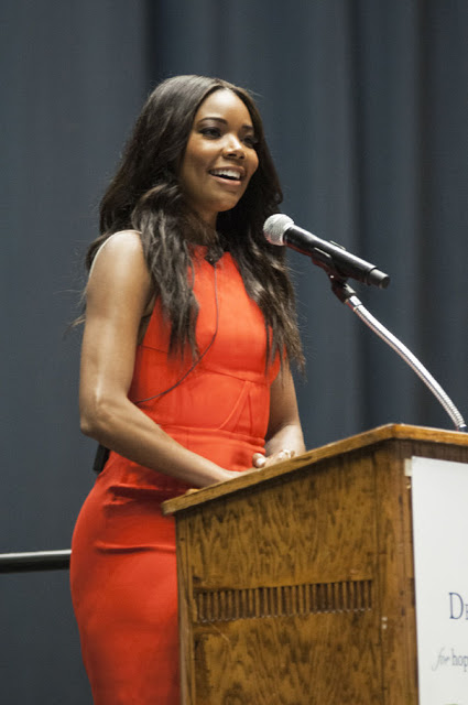 Actress Gabrielle Union speaks during the Delta Gamma Lectureship in Values & Ethics at Louisiana State University (LSUNOW photo)