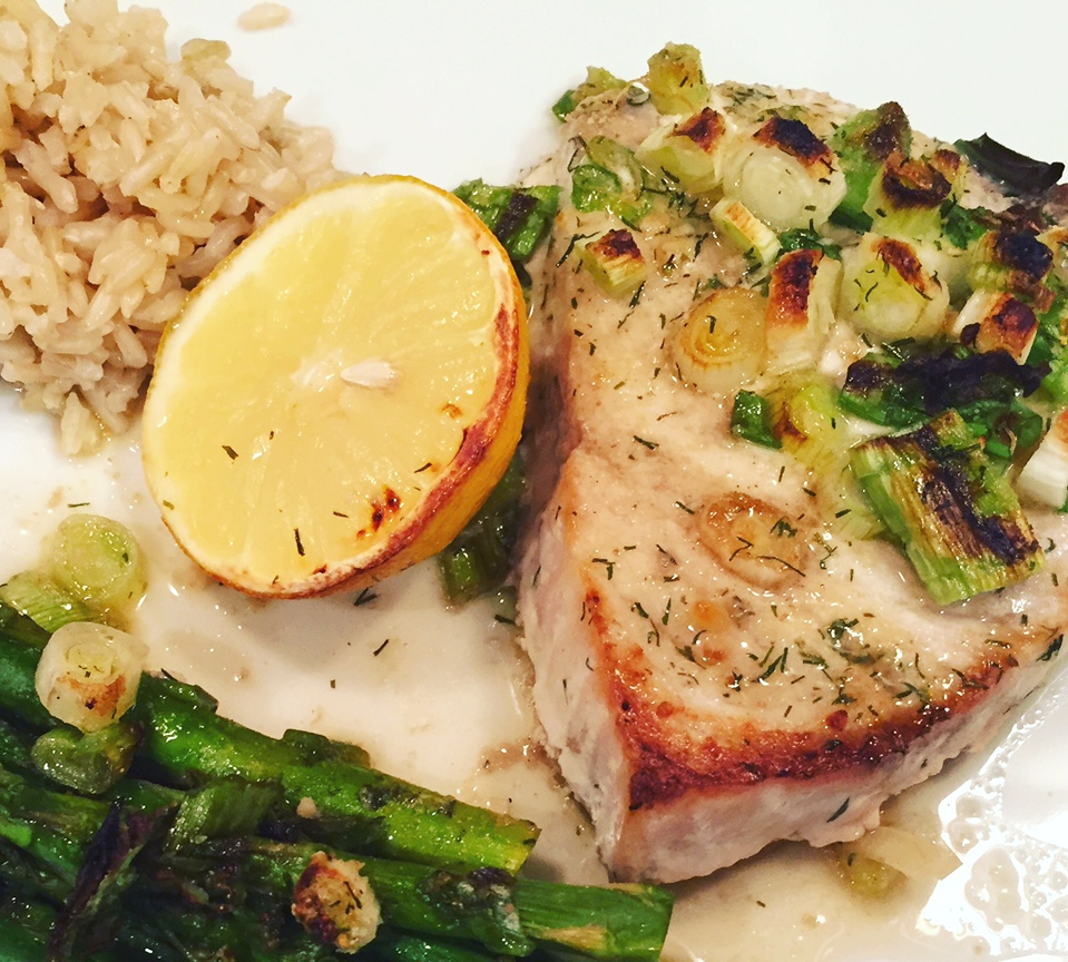 Meal suggestion: Serve with grilled asparagus and Basmati rice. You can grill the lemon, too!