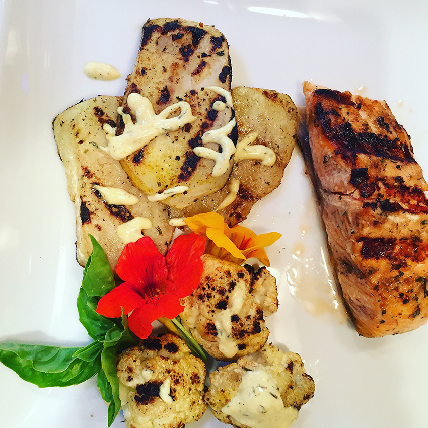 Serves 4 people    Ingredients:  4 - 6 oz fish fillets, Salmon, Swordfish, Halibut or Ahi  1 tsp any of   Chef Josef's Seasoning Blends    2 Tbsp olive oil  Marinade for ½ hour     Vegetables:   8 - ¼ inch slices of Kohlrabi  8 flowerlets of Cauliflower  1 tsp of the   Curry Basil   or   Lemon Dill    blend   2 Tbsp olive oil  1 tsp Worcestershire Sauce    Mix all ingredients together and let sit for ½ hour    Preheat grill at 425˚  Place veggies on grill and cook until half done    Add the fish to the grill and avoid over grilling. Only grill to medium done as it will continue cooking.