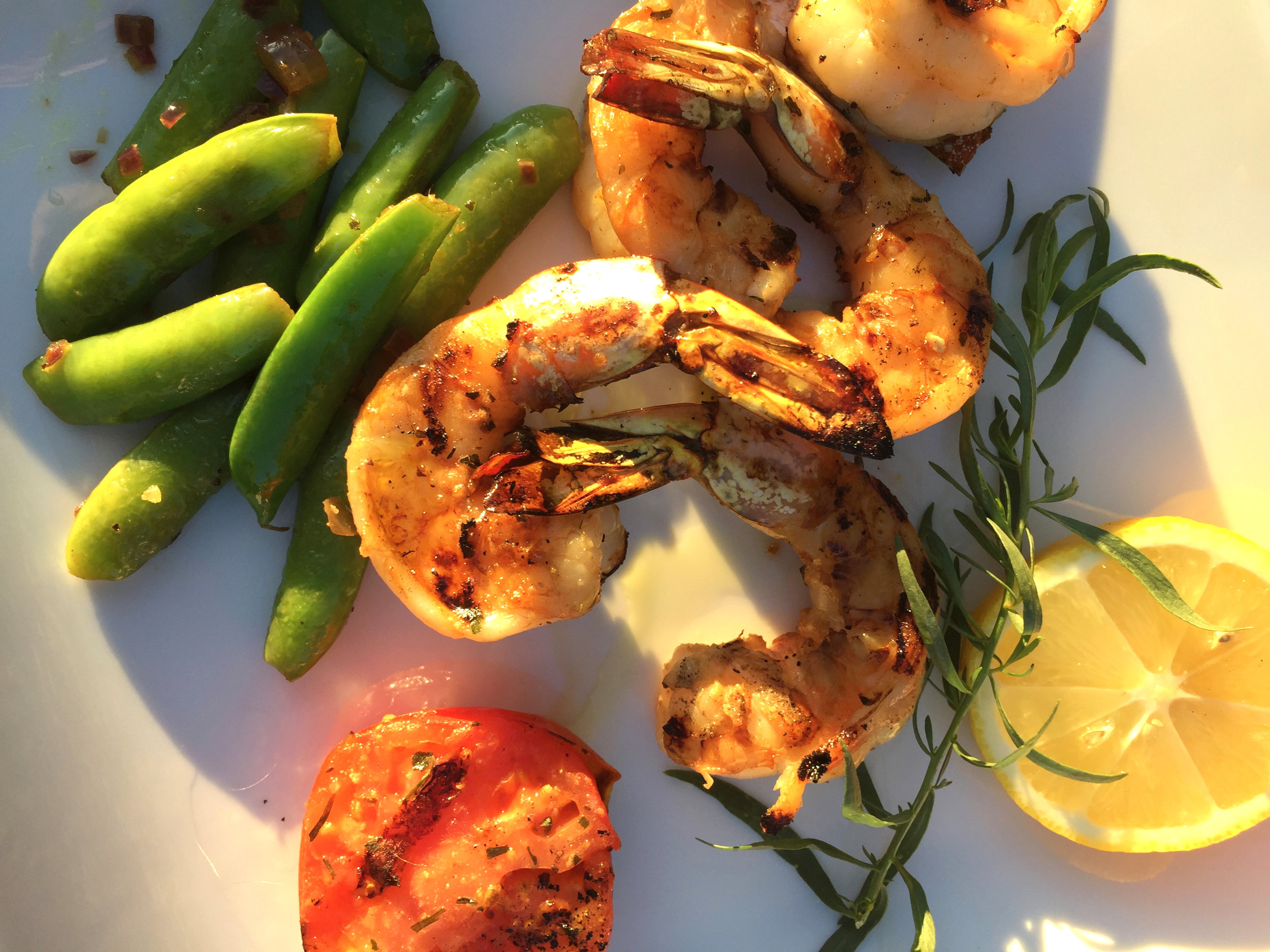 INGREDIENTS:  8 large prawns (3.4 #)  3 Tbsp Olive oil  ½ tsp Chef Josef's Citrus Tarragon Blend  ½ tsp. Lemon juice  Fresh Tarragon leaves (optional)    Clean and peel prawns. Marinate in olive oil and   Chef Josef's Citrus Tarragon   seasoning. Blend and let sit for ½ hour.    Preheat grill or broiler.  Place on hot grill or broiler for 3 minutes on each side or until the prawns turn lightly pink.  Over cooking will turn them in tough and dry.    Finish with a light squeeze of Lemon juice and optional fresh Tarragon on top.