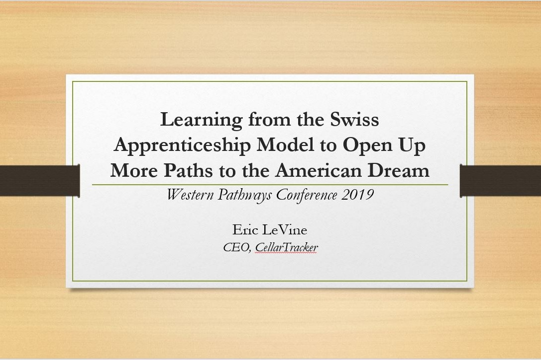 Click to view Eric LeVine's plenary presentation on the Swiss Apprenticeship model, and how and why this should be emulated in the United States. Eric LeVine is married to Suzi LeVine, the former U.S. ambassador to Switzerland.