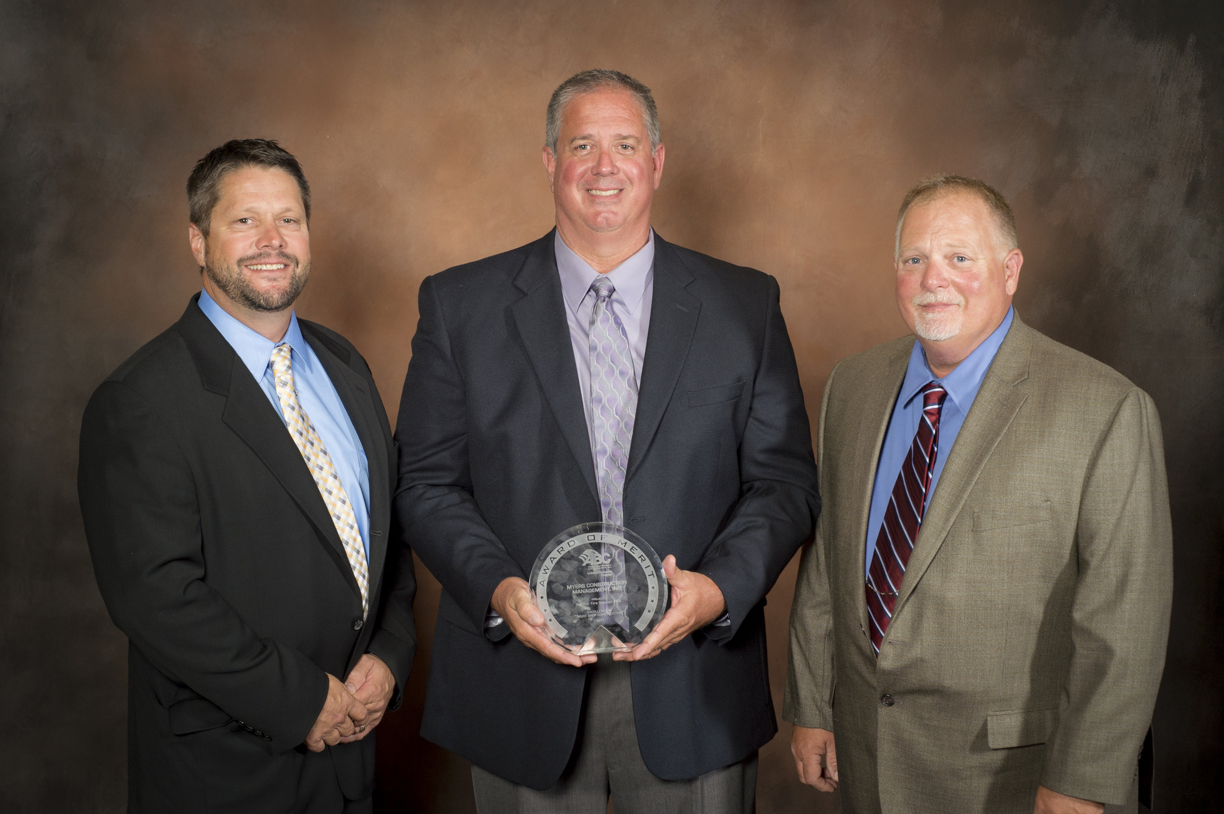 Award of Merit - Carmel Fire Station #44 - Institutional $3-10M. Left to right: Steve Ferguson (Project Manager), Don Myers (MCMI Owner), and Kent Fielden (Project Superintendent).