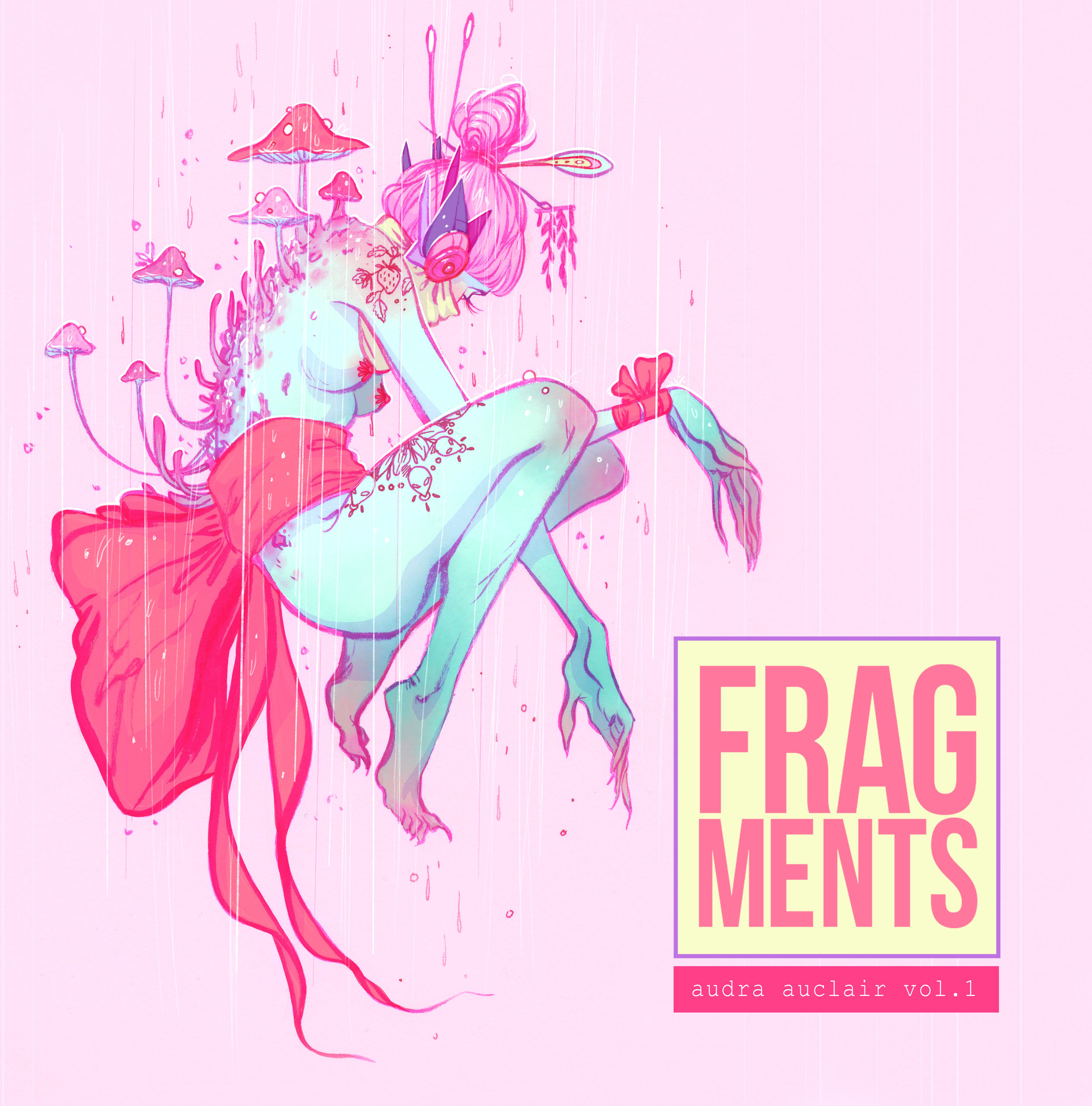 """FRAGMENTS Vol.1 (2018) - FRAGMENTS Vol.1 is 112 pages and 8"""" x 8"""". It's a collection of Audra's sketches, studies and miscellaneous work created from 2013-2017. The mediums include pencil, ink, gouache, watercolour and digital format.This is the 2nd print run of this book. Compared to the first run this 2nd run has thicker gloss inner pages which drastically improved the colour of the artwork. The art has been enlarged to fit the entire page when possible. Many pages have been added that include new art and some of the additional pages are due to increasing the size of the artwork."""