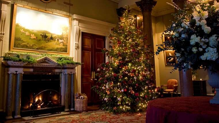 The Front Hall of Goodwood House makes for a magical Christmas setting.