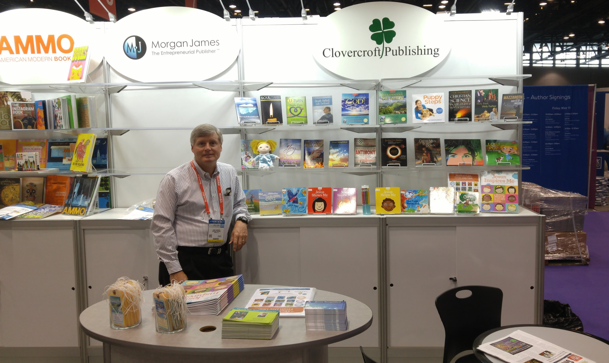 We also have a second Publisher Imprint called Clovercroft for our non-Christian books. Here's is a photo of Larry at our booth we had at the May 2016 BEA show in Chicago, IL.