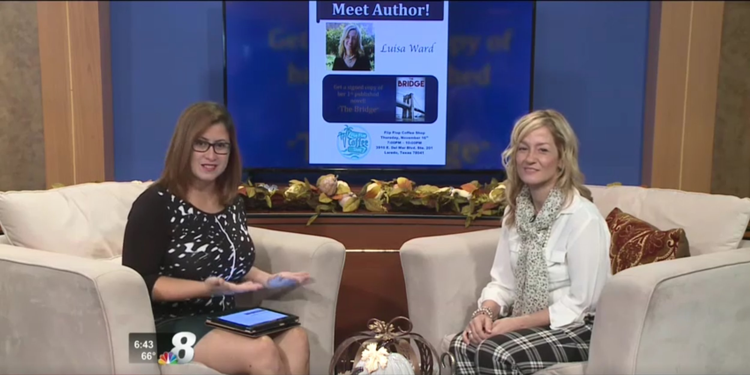 Luisa Ward went on to channel 8 news to do an interview about he book, The Bridge
