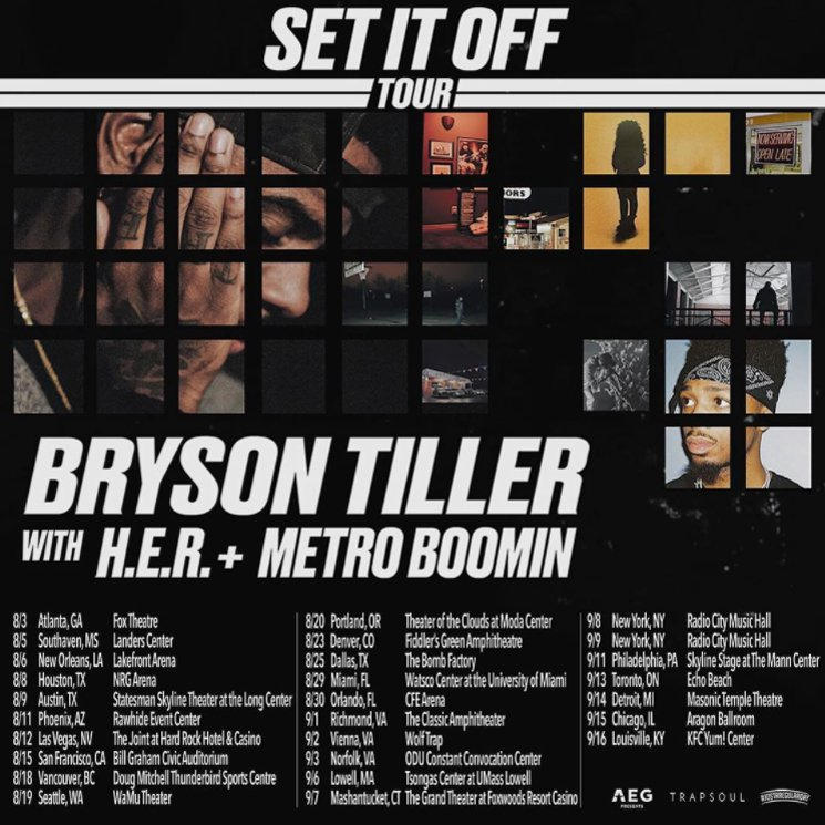 Fresh Off True To Self Album Bryson Tiller Announces Set It Off Tour With H E R And Metro Boomin Lindsey Gamble