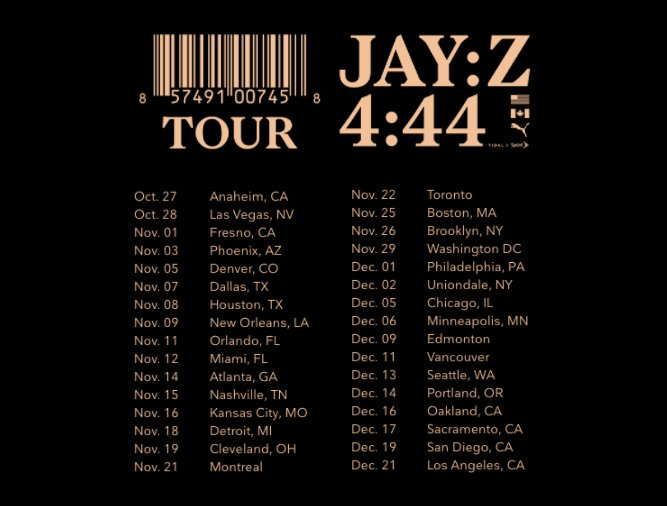 JAY-Z 4::44 Tour Dates
