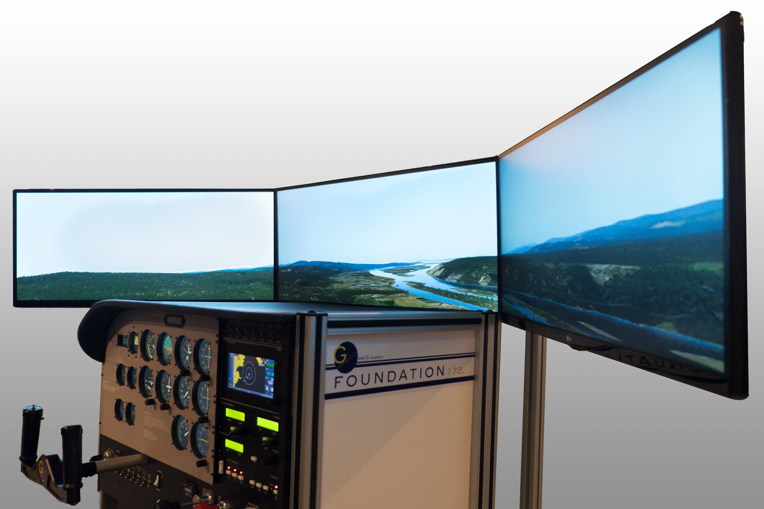 """Visual Display - Unit ships complete with 27"""" retractable LCD screen. (Optional 3-Screen Wrap-around or Projected Visual display systems are also available.)"""