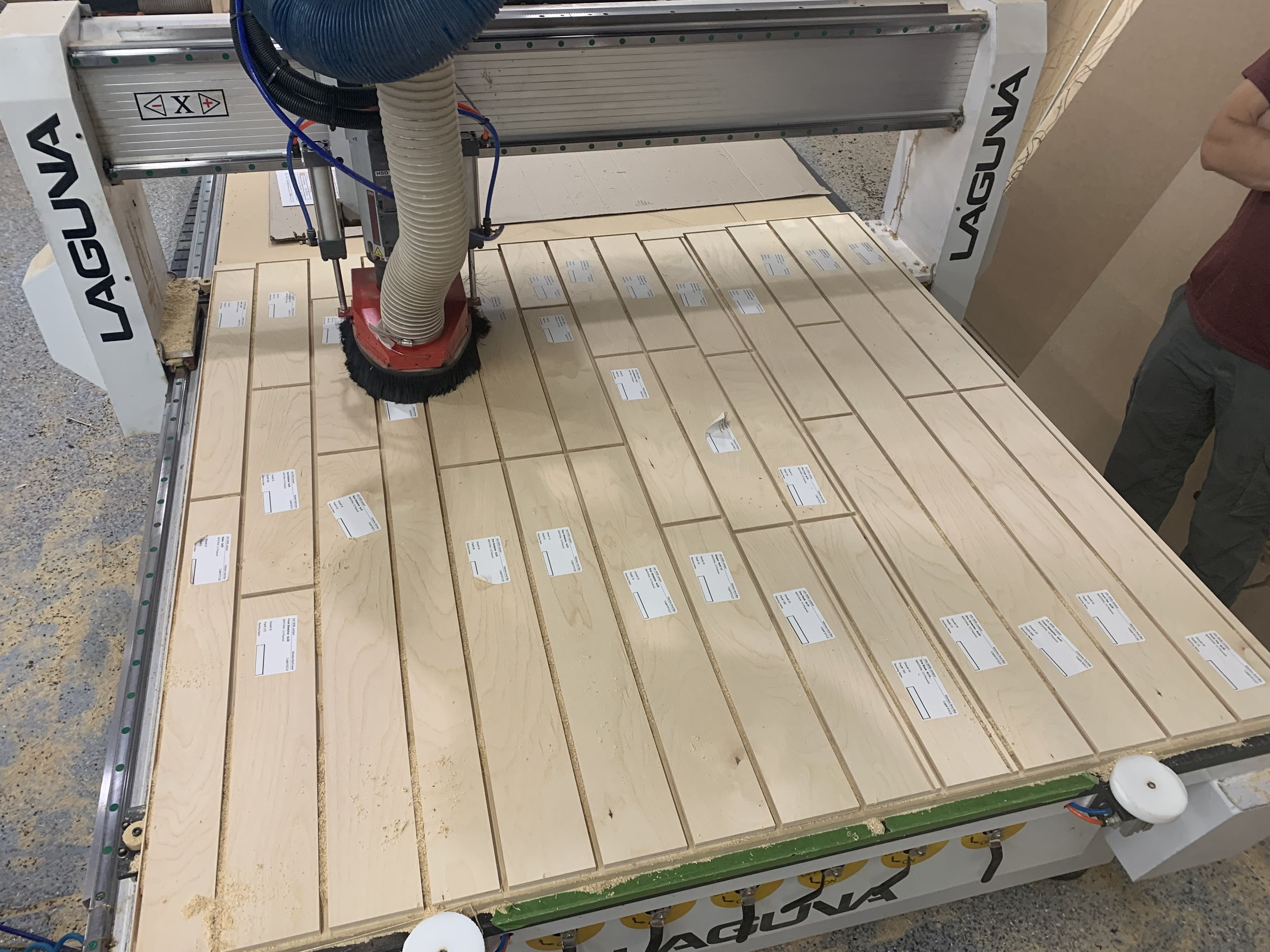 High density of drawer fronts, toe kicks and cleats being machined