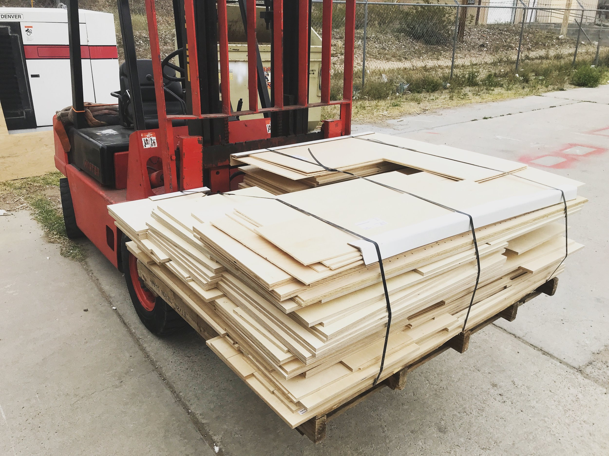 Palletized parts ready for pick up or delivery