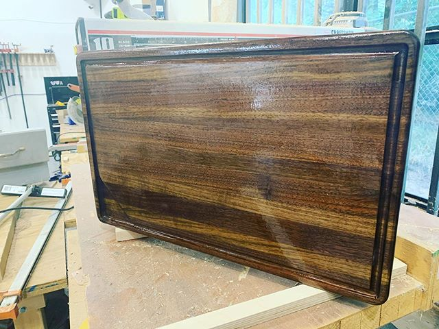 We are excited to be donating this solid walnut cutting board to the St. Mark's school silent auction. #madeatthecompound