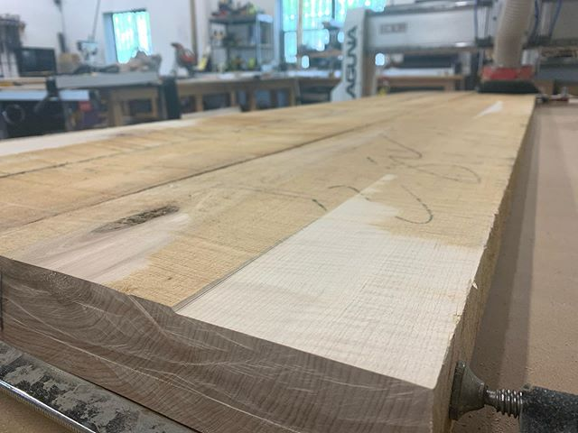 One of the most satisfying things you can do on a CNC router is fly cut rough sawn lumber to reveal the beautiful grain underneath.  This 8/4 hard maple is well on its way to becoming carriages for two civil war-era Napoleon 12 pounder cannons. We are stoked to be doing this work for Ft. Bliss.  The heavy hitter surfacing bit is the Amana RC-2263 from @toolstoday.  #madeatthecompound