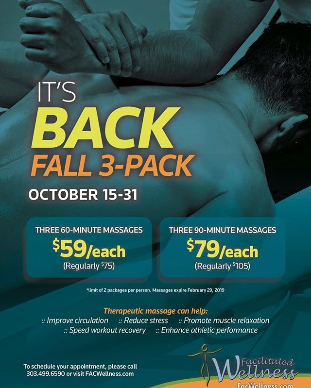 If you've been on the fence to check out the transformative work that my fabulous team and I do, then get your 3-pack now!  Trust me, your body will thank you!!! Call or stop by to get yours today! (303)499-6590  Colorado Athletic Club Flatirons  #boulder #bouldermassage #facwellness #boulderwellness #boulderfitness #boulderhealth #healthyboulder