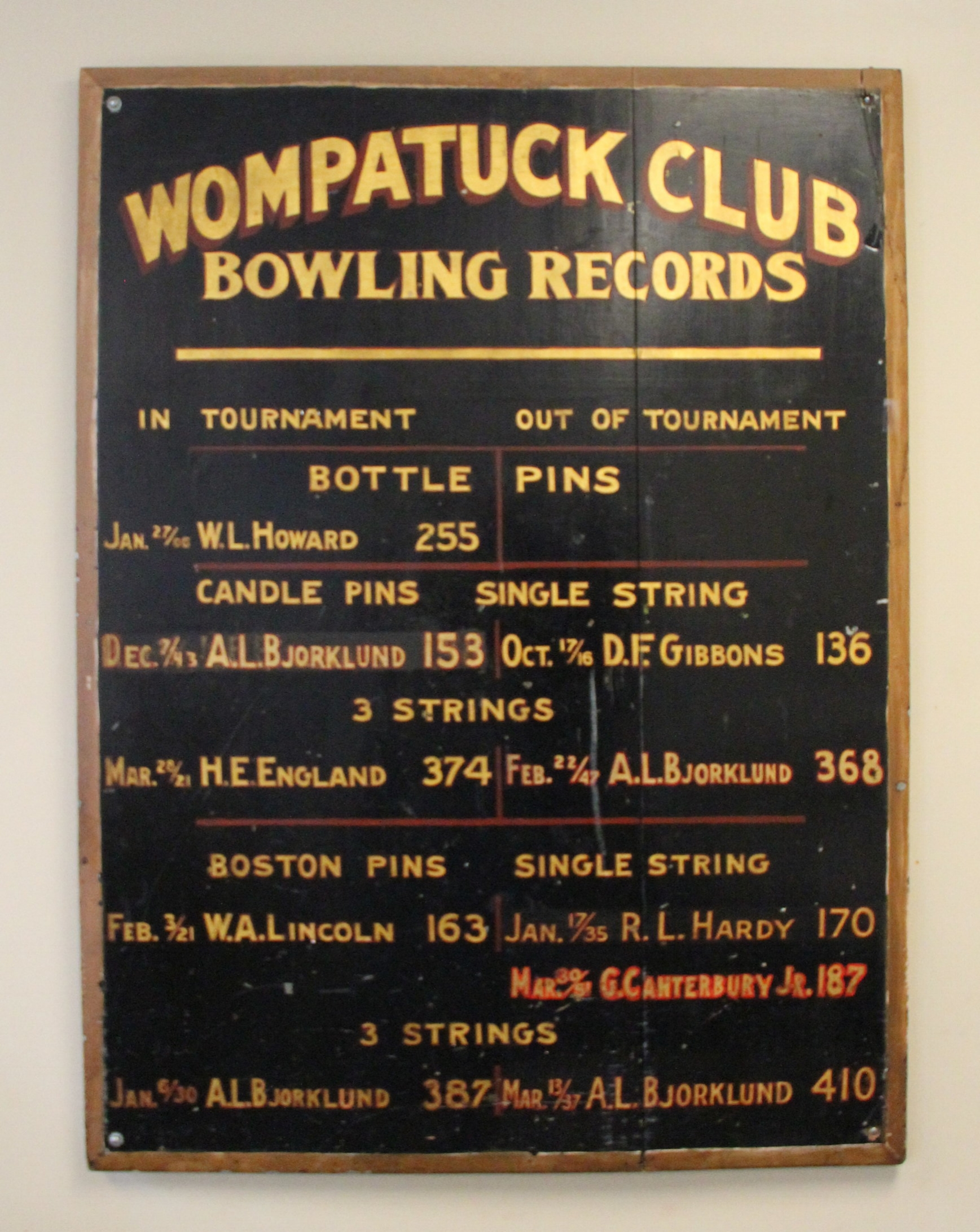 The Wompatuck Club bowling records are presently displayed in the board room.