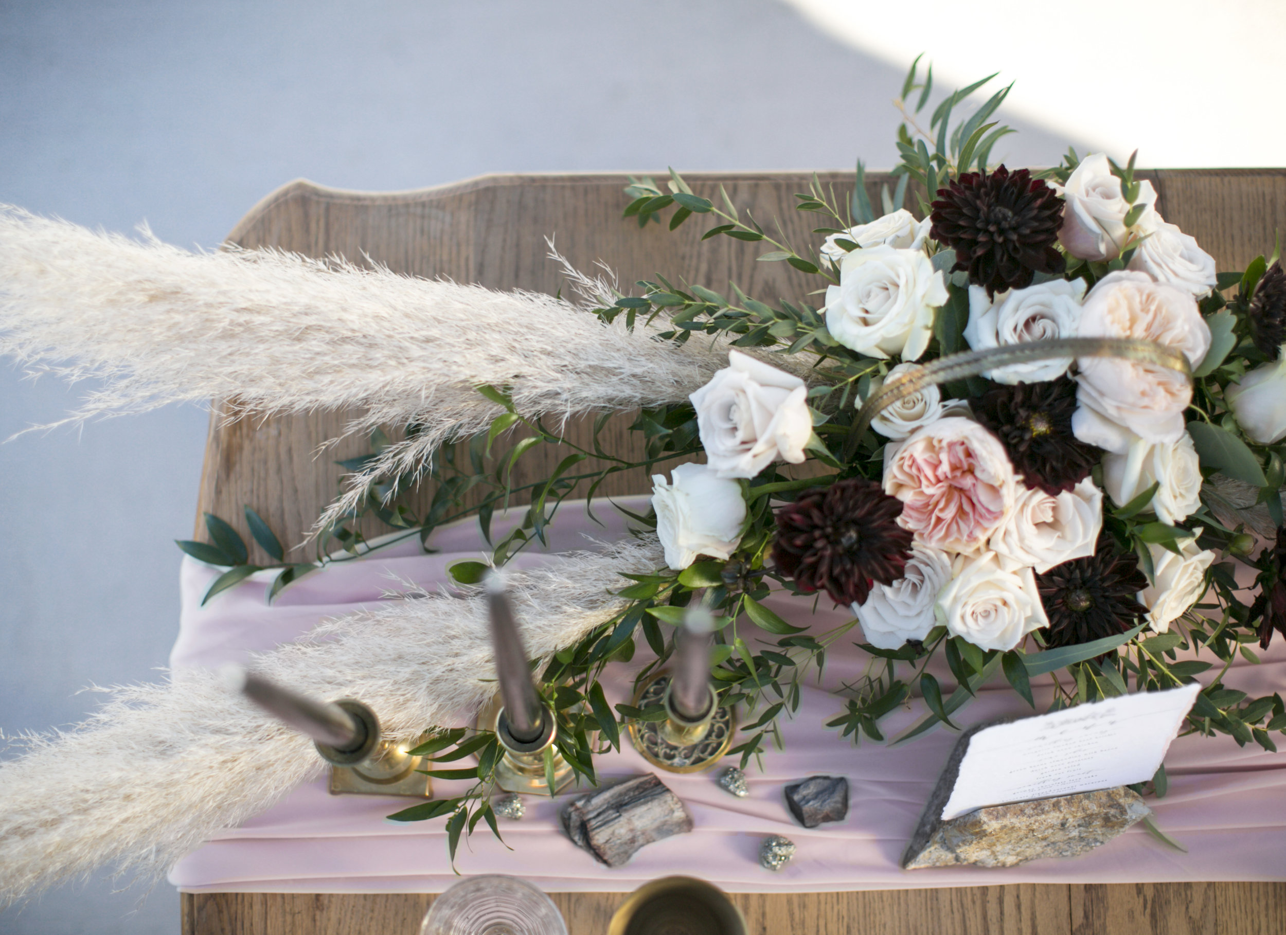 Black and blush tablescape