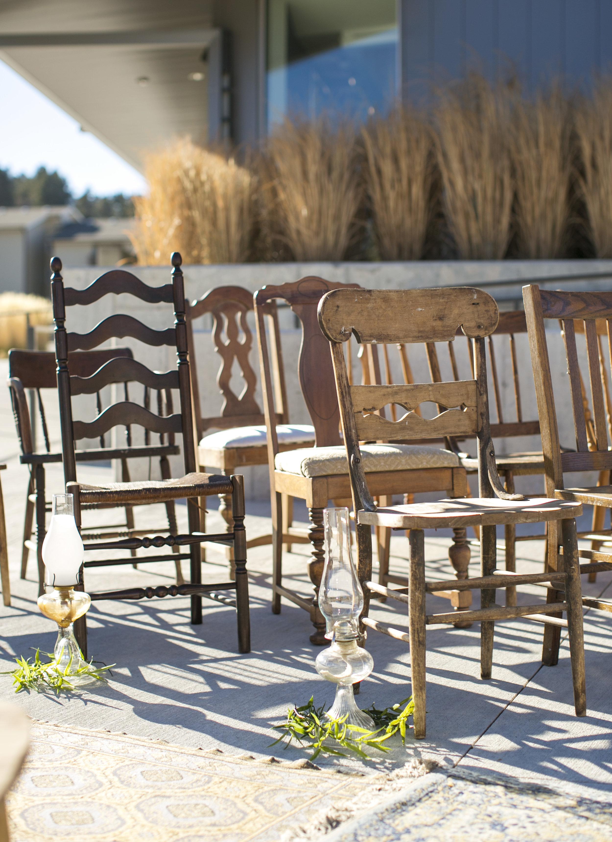 mismatch wooden chairs